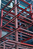 Construction site with steel girders — Stock Photo