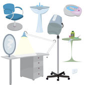 Beauty salon furniture icon set — Stock Vector