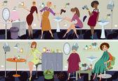 Beauty salon banner workers — Stock Vector
