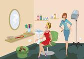 Kosmetický salon klienta v červených šatech se dívá do zrcadla — Stock vektor