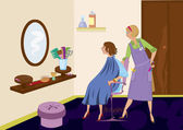 Beauty salon brunet looking in the mirror after hair cut — Stock Vector