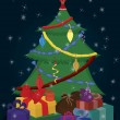 Christmas tree and presents — Stock Vector