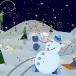 Snow man making firework banner — Stock Vector #7782699