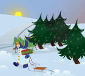 Snowman is walking through the forest — Stock Vector