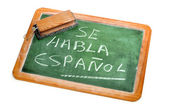 Spanish is spoken — Stockfoto