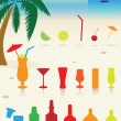 Tropical drinks set. — Stock Vector