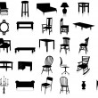 Stock Vector: Furniture silhouette vector illustration set.