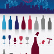 Party drinks set with firework — Stock Vector #7332228