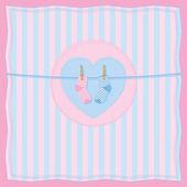 Boy or girl birth postcard with baby socks. — Stock Vector