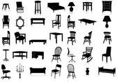 Furniture silhouette vector illustration set. — Stock Vector