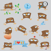 Set of cartoon funny sparrow — Vector de stock