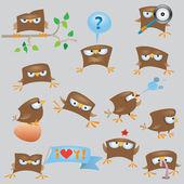 Conjunto de gorrión divertidos dibujos animados — Vector de stock