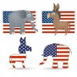 Democrat and republicsymbols — Stock Vector #7500642