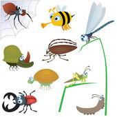 Zabawny zestaw owadów — Wektor stockowy