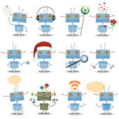 Funny cartoon robots — Stock Vector
