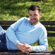 Relaxed on a bench — Stock Photo