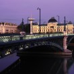 Bridge in Lyon by night in autumn — Stock Photo