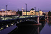 Bridge in Lyon by night in autumn — Stock Photo