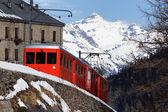 Winter red train — Stock Photo