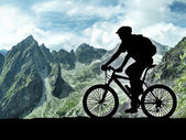 Silhouette of cyclist — Stock Photo