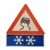 Slippery road sign — Stock Photo