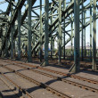 Railway railroad tracks - Stock Photo