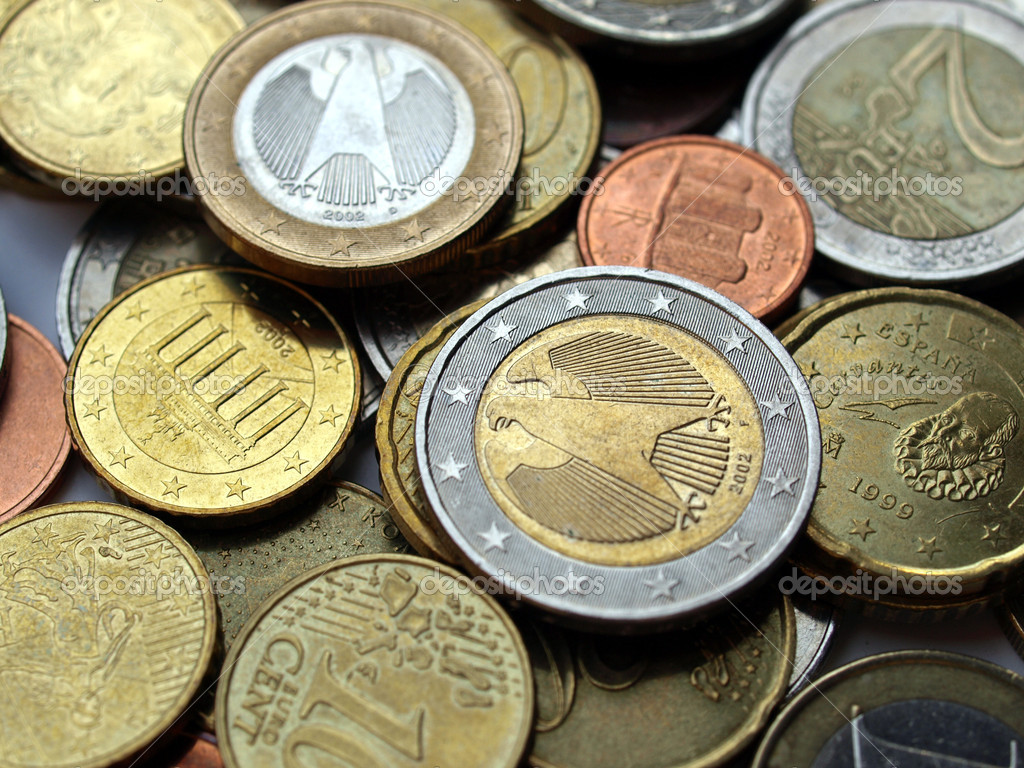 Background of Euro coins money (European currency) — Stock Photo #7426333