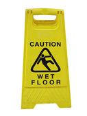 Dikkatli ıslak zemin — Stok fotoğraf