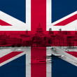 London over flag — Stock Photo