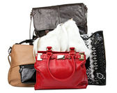 Various bags over white, with clipping path — Stock Photo