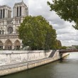 Notre Dame and Seine River - Stock Photo