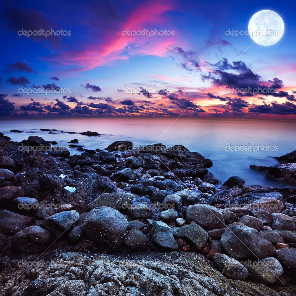 Full moon fantasy seascape. Long exposue shot, square composition. — Stock Photo #7596956