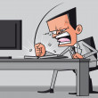 Furious frustated businessman hitting the computer keyboard — Stock Photo