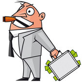 Businessman with the money suitcase — Stock Photo