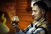 Taster. Man with glass of brandy or cognac — Stock Photo
