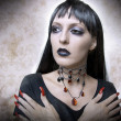 Halloween concept. Fashion portrait of vampire - Stock Photo
