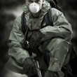Stock Photo: Portrait of person in gas mask. Soldier on war