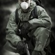Portrait of person in gas mask. Soldier on war — Stock Photo