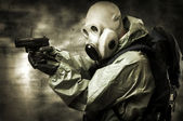 Portrair of person in gas mask — Stock Photo