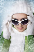 Winter portrait of young adult woman — Stock Photo