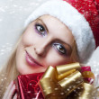 Christmas concept. happy woman with gift — Stock Photo