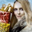 Christmas concept. woman and gift boxes — Stock Photo