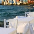 Restaurant near seat Little Venice on island of Mykonos in Greece — Stock Photo #6782590
