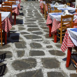 Cafe setting in the greek islands — Stock Photo