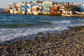 Little Venice in Mykonos Island Greece — Stock Photo
