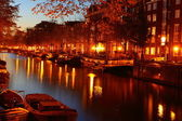 Amsterdam at night, The Netherlands — Stockfoto