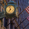 Stock Photo: Old Clock and Flags