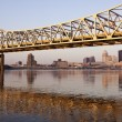 Yellow bridge in Louisville - Stok fotoğraf