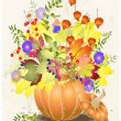 Greeting card with a pumpkin.Illustration pumpkin, wild grapes, cranberry, — Stock Vector