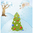 Royalty-Free Stock Vector Image: Greeting card with Christmas tree or New Year decorated toy glass and festo